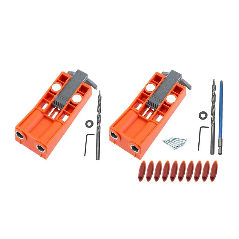 Pocket Hole Jig Set Woodworking Hole Puncher Drilling Magnets Locator Hole Jig Kit Drill Guide Set