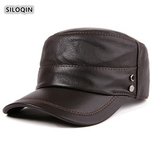 SILOQIN Trend Genuine Leather Hat Man Autumn Winter Fashion First Layer Sheepskin Military Hat Adjustable Size Snapback Flat Cap unique artificial leather adjustable snapback hat
