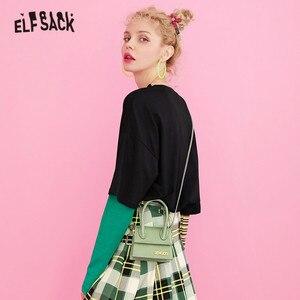 Image 3 - ELFSACK Cotton Cartoon Print Striped T shirts Women 2019 Autumn Fashion Oversize Casual Fake two piece Tee Korean Punk T shirt