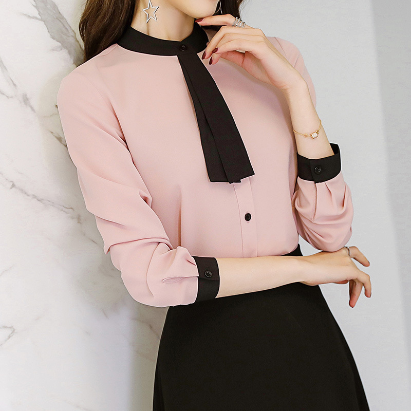 Leisure Work Shirts Spring Autumn Women Blouse Long Sleeve Patchwork Tie Neck Slim Chiffon Blouses Office Ladies Tops Pink White