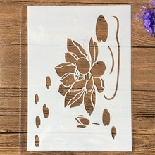 Layering Stencils Wall-Painting Scrapbook-Coloring Lotus-Pond Embossing-Album-Decorative-Template