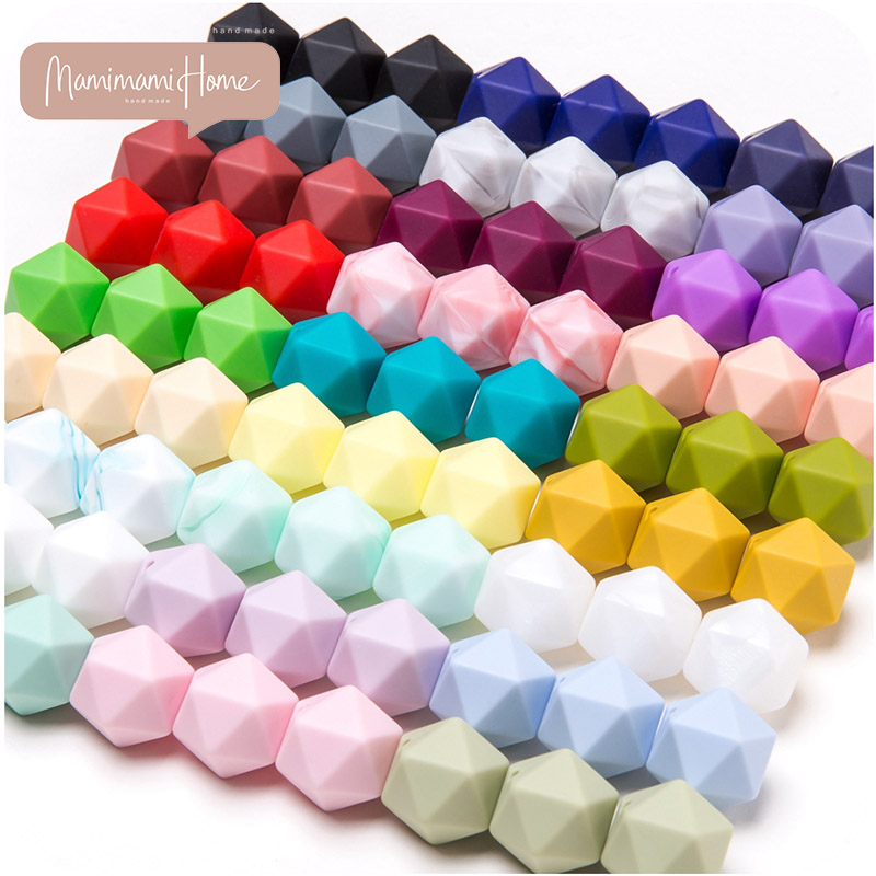 14mm 10pcs Silicone Octagon Beads Baby Teething Bead DIY Necklace Nursing Bracelet Baby Teethers Food Grade Tiny Rod Gift