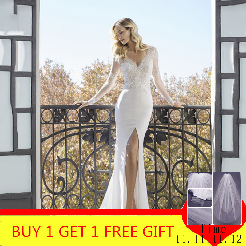 Classic High Slits Wedding Dresses V-neck Long Sleeve Lace Appliqued Bridal Gowns Plus Size Dubai Arabic Boho Dubai Wedding Gown