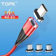 Купить с кэшбэком TOPK 3A Fast Charging Magnetic Cable, Mobile Phone Micro USB Cable & USB Type C Cable for iPhone Samsung Xiaomi Huawei HTC LG