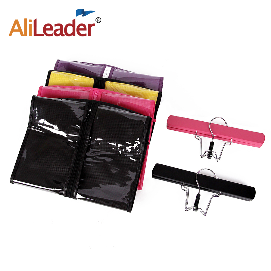 Alileader Nonwoven Dustproof Storage Case Portable Hair Bag With Extension Wooden Double Anti-Slip Hanger For Human Hair Bundles