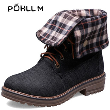 PUHLLM Hot Boots  2019 New Martin Short with Winter Round Head Flat Solid Color Lace Casual BootsF22