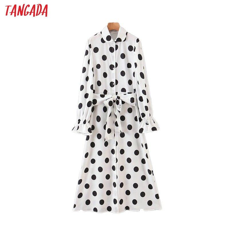 Tangada Fashion Women Black Dots Print White Dress 2020 New Arrival Long Sleeve Ladies Classic Midi Dress Vestidos SL01