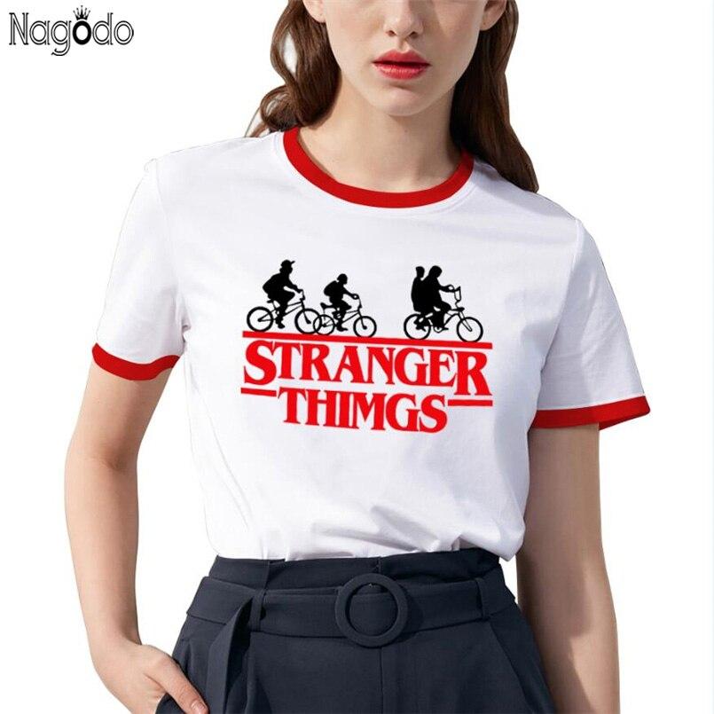 Nagodo Letter Short Sleeve T-shirt 2019 Summer Stranger Things Print O-neck Couples Casual Tees Harajuku T Shirt White Women Top