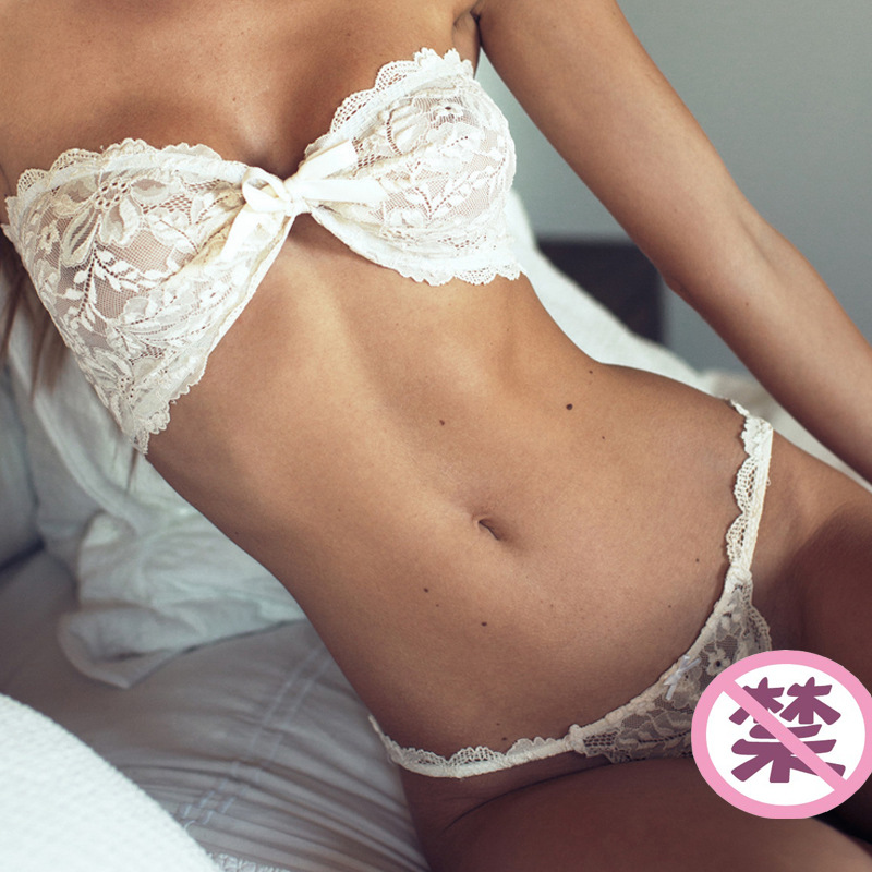 2019 Solid White Women Sexy Lingerie Transparent Thong Erotic Costumes Lace-up Lace Bow Three-point Sexy Suit Plus Size