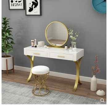 Small-sized Nordic minimalist modern bedroom dressing table ins wind wrought iron paint dressing table mini dressing table