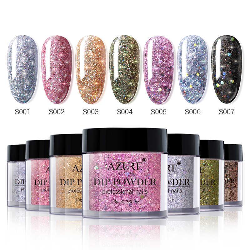 Azure Beauty 11 Pcs/lot Super Bersinar Mencelupkan Bubuk Glitter Dekorasi Kuku Bubuk Kering Alami Mencelupkan Bubuk Kit