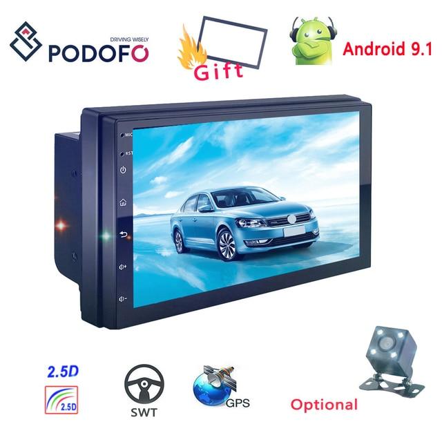 "Podofo Radio 2 din Android 7"" Car Multimedia Player Universal Car Stereo Receiver GPS for Volkswagen Nissan Hyundai Kia Toyota"