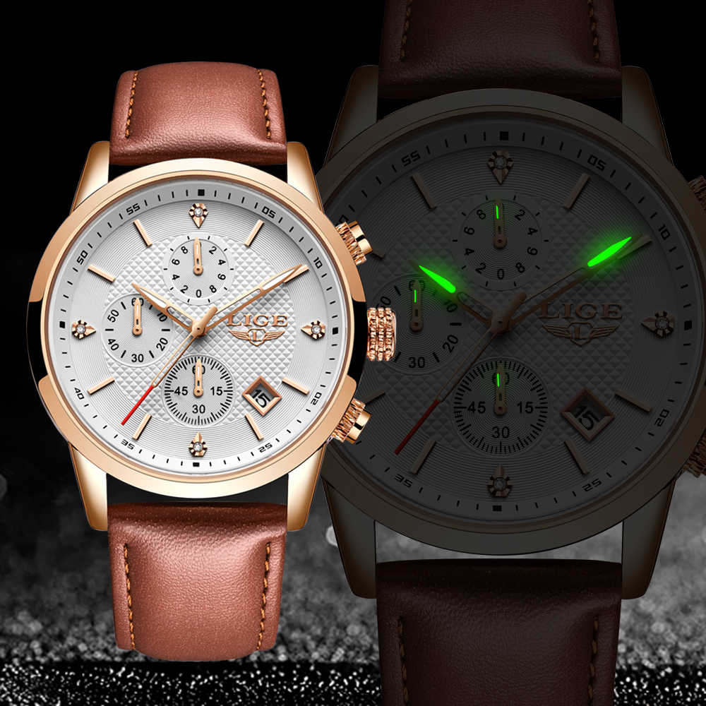 Lige 2020 new 시계 남성 패션 스포츠 쿼츠 시계 남성 시계 브랜드 럭셔리 가죽 비즈니스 방수 시계 relogio masculino