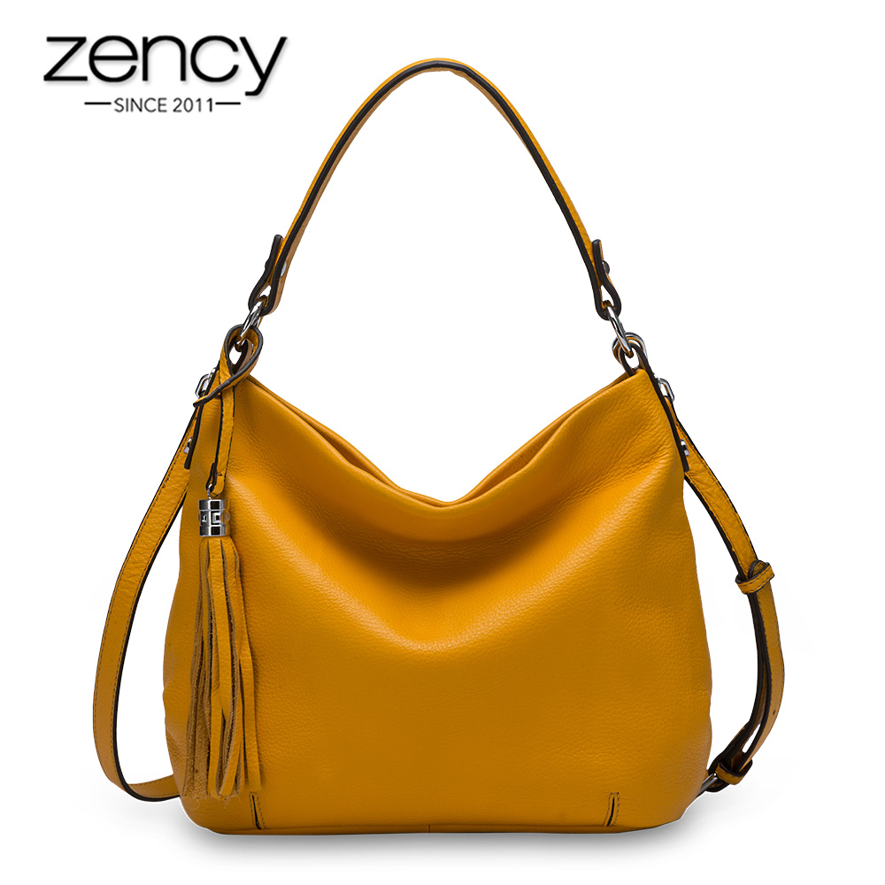Zency 100% Genuine Leather Fashion Women Shoulder Bag Tassel Hobos Elegant Crossbody Tote Handbag High Quality Black Yellow