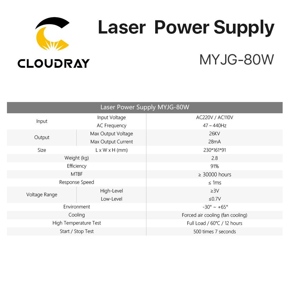 Fuente de alimentación de láser de CO2 Cloudray 80W para la - Piezas para maquinas de carpinteria - foto 4
