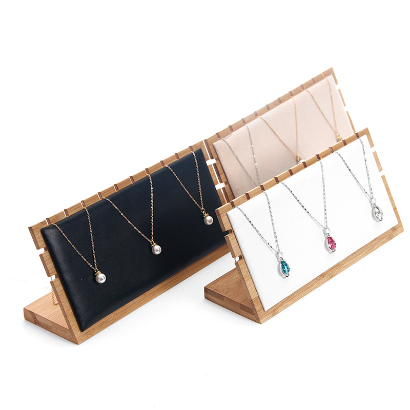 Creative Solid Bamboo Jewelry Display Holder Pendant Earrings Necklace Bracelets Display Stand Jewellery Display Stand L Type
