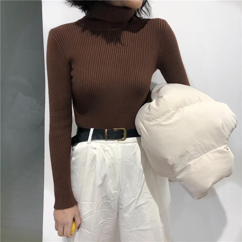 2021 Autumn Winter Thick Sweater Women Knitted Ribbed Pullover Sweater Long Sleeve Turtleneck Slim Jumper Soft Warm Pull Femme