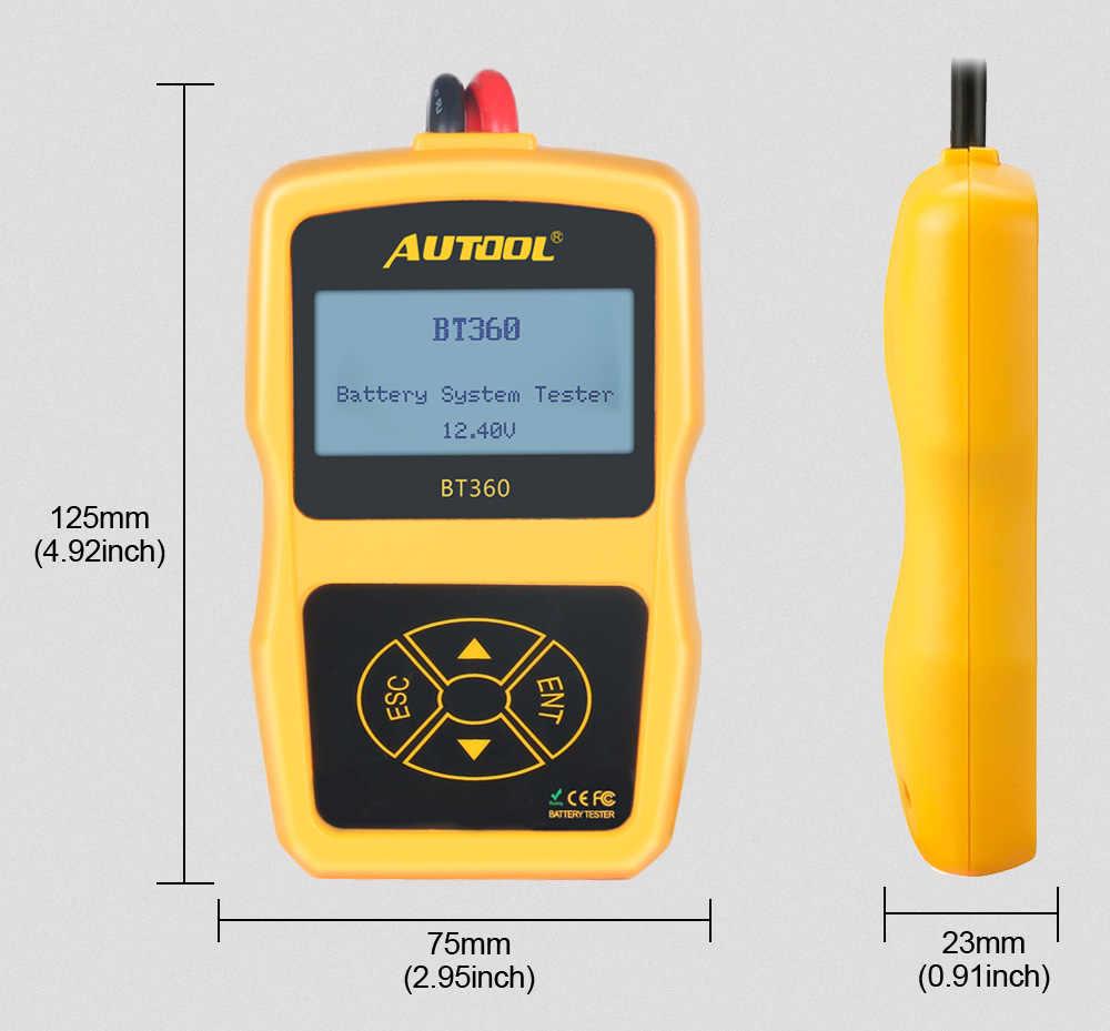 Autool BT360 12V Pin Máy Kỹ Thuật Số Ô Tô Chẩn Đoán Kiểm Tra Pin Máy Phân Tích Xe Cranking Sạc Quét