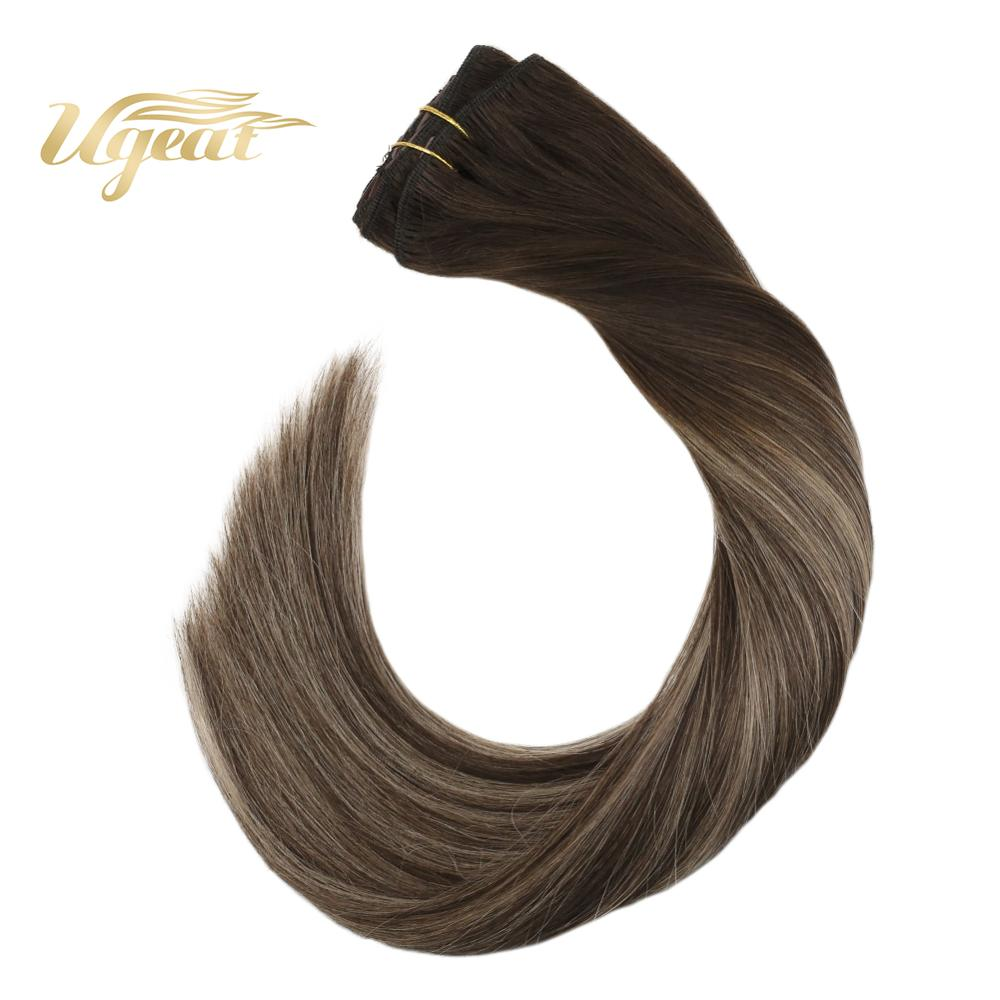 Ugeat Clip In Human Hair Extensions Full Head Hair 14-22