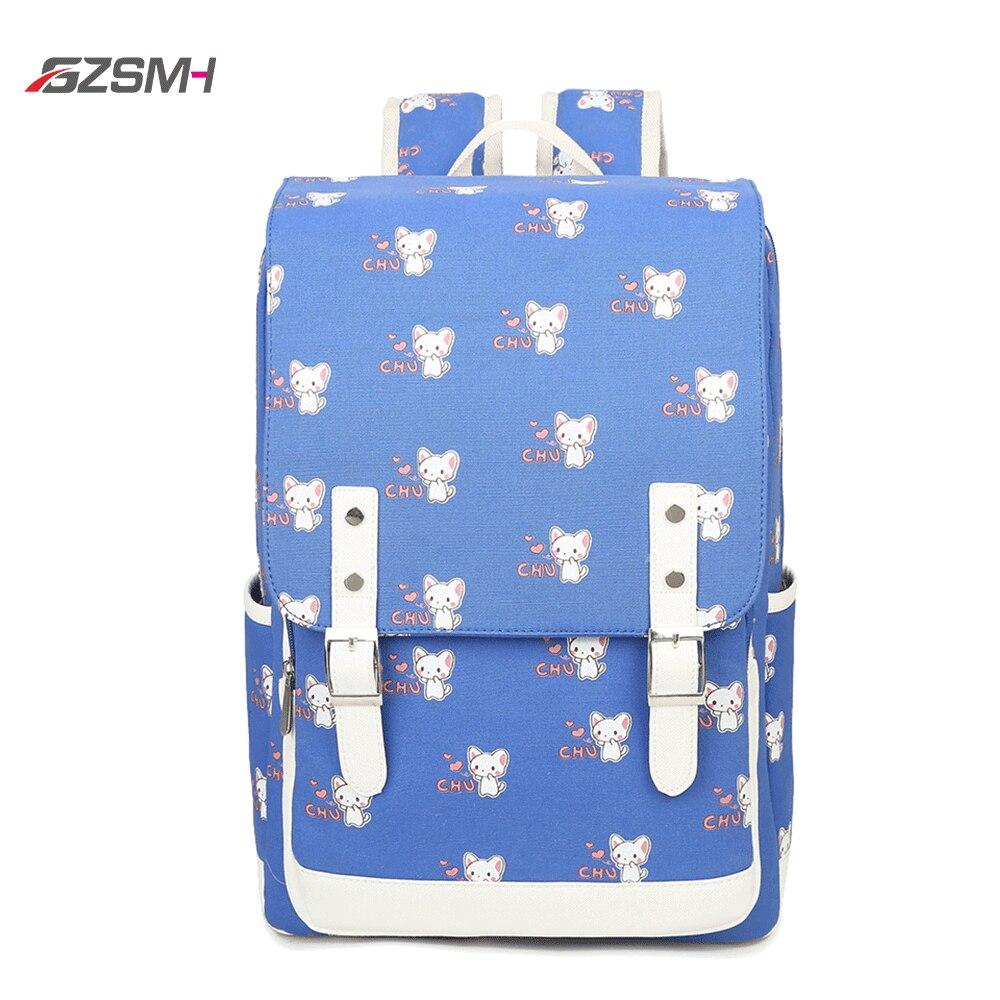 Купить синий школьный рюкзак с принтом кота для женщин и девочек большой