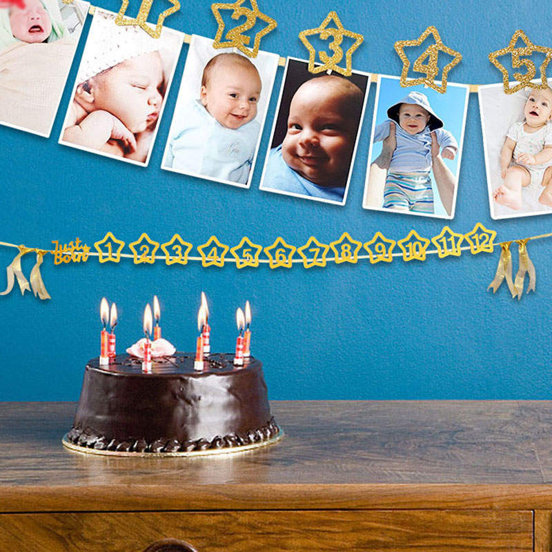 1set Kids Party Toys For Baby 0-12 Month Photo Banner With Clip Cartoon Hat Gold Banner 1st Birthday Party