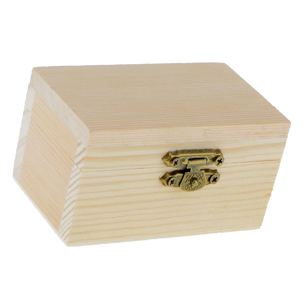 5pcs Unpainted Wooden Jewelry Box DIY Storage <font><b>Treasure</b></font> <font><b>Toy</b></font> Case 9 <font><b>x</b></font> 5 <font><b>x</b></font> 5cm image