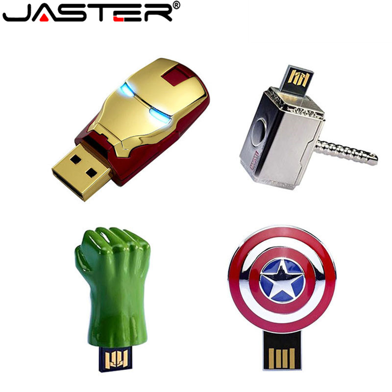 JASTER Iron Man Captain American Hulk Hand USB Flash Drive Pen Drive Metal Pendrive 4GB/16GB/32GB/64GB Memory Stick Cartoon Gift