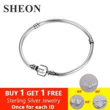 купить SHEON 100% 925 Sterling Silver Snake Chain Basic Chain Fit Original Pandora Charms Beads  DIY Bracelet for Women Fashion Jewelry дешево