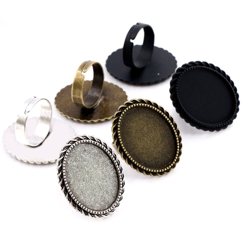18x25mm 5pcs Black Antique Silver Plated Bronze Brass Oval Adjustable Ring Settings Blank/Base,Fit 18x25mm Glass Cabochons