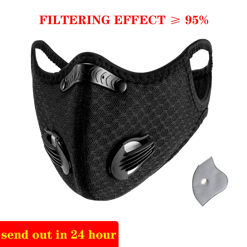 KN95 Sport Face Mask With Filter Activated Carbon PM 2.5 Anti-Pollution Men And Women Running Cycling Mask