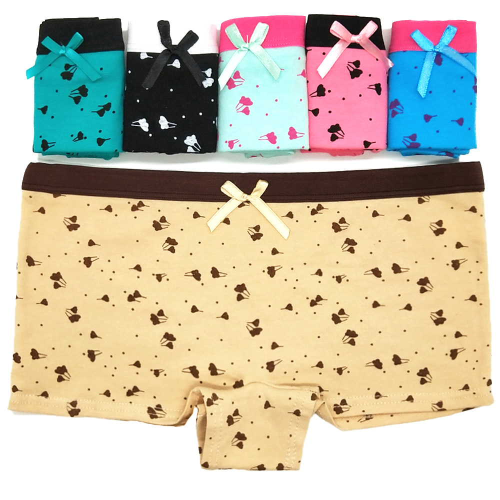 3pcs/lot Cotton Panties Printed Women's Boyshort Female Breathable Ladies Safety Underwear Girls Underpant Flat Boxer Shorts
