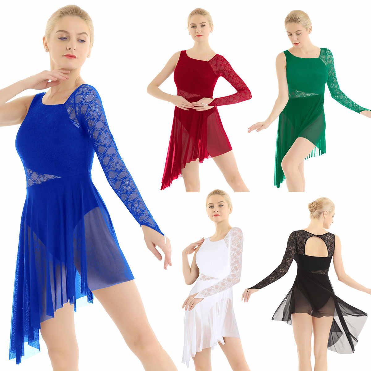 נשים מבוגרים אחת ארוך שרוול עם אצבע תחרה מחוך אסימטרית בגד גוף שמלת לירי מודרני עכשווי בלט ריקוד