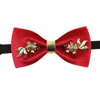 High-end Fashion New Men's Goldfish Bow Tie Wedding Groom Groomsman Collar Formal Dress Bowties White Shirt Clothing Accessories