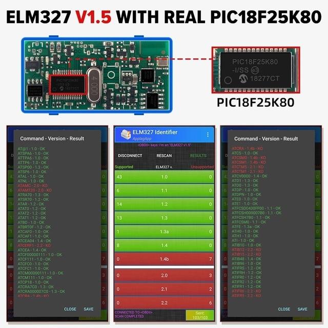 ELM327 WiFi/Bluetooth V1.5 PIC18F25K80 Chip OBDII Diagnostic Tool IPhone/Android ELM 327 V 1.5 ICAR2 OBDSCAN Scanner Code Reader 4