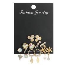 Luokey Delicate Tassel Colorful Crystal Earring Set Heart Flower Leaves Pearl Boho Dangle Earrings For Women Pendientes De Mujer