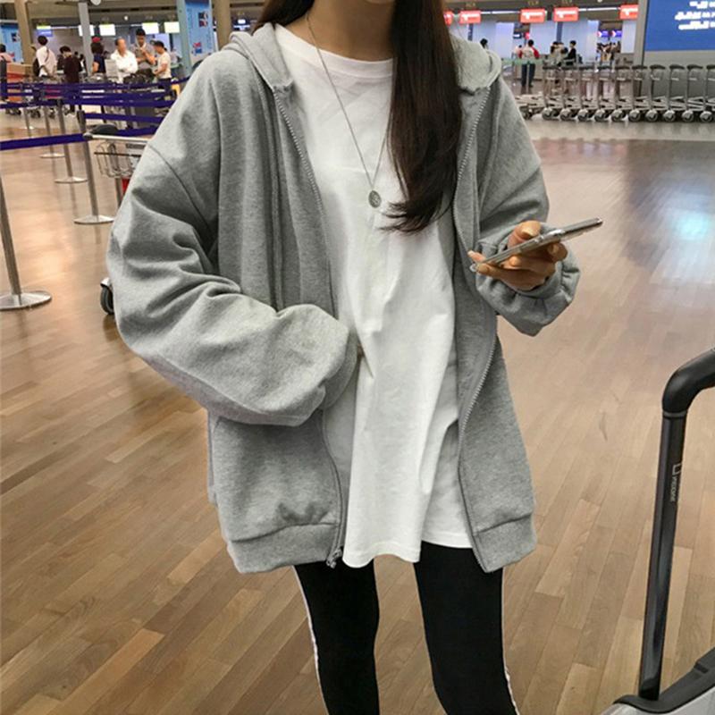 New Fashion Zipper Hoodies Women Warm Casual Coat Loose Long Sleeve Print Strappy Sweatshirt Tops Hoodies