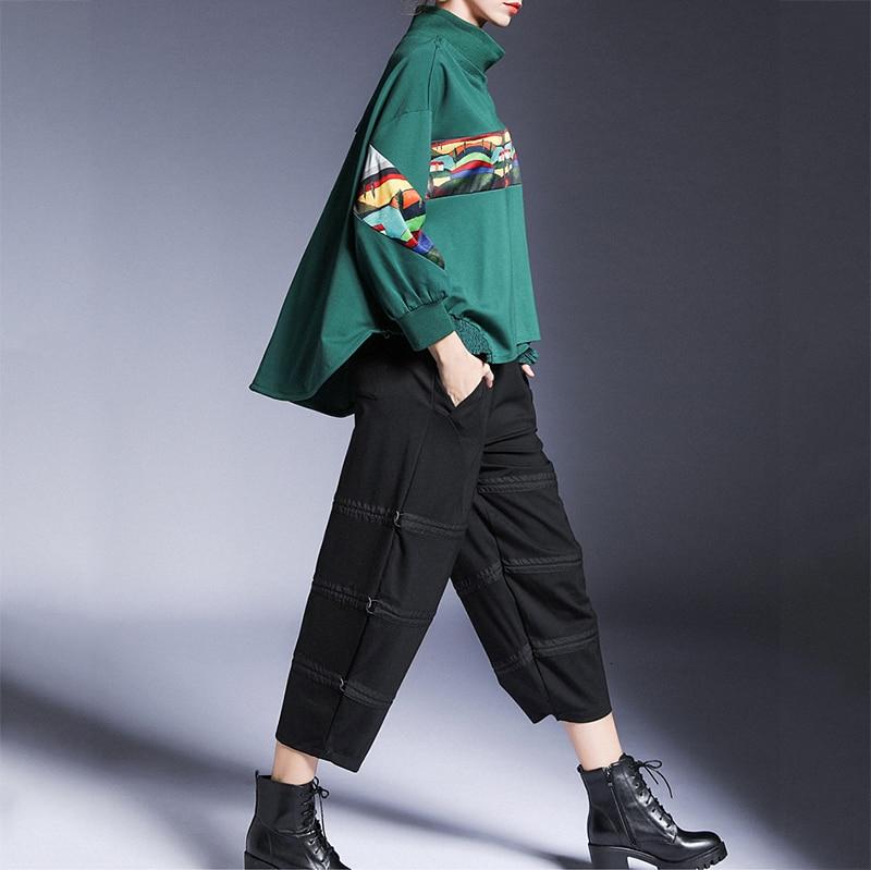 New Fashion Style Loose Fit Pattern Spliced Pleated Sweatshirt Fashion Nova Clothing