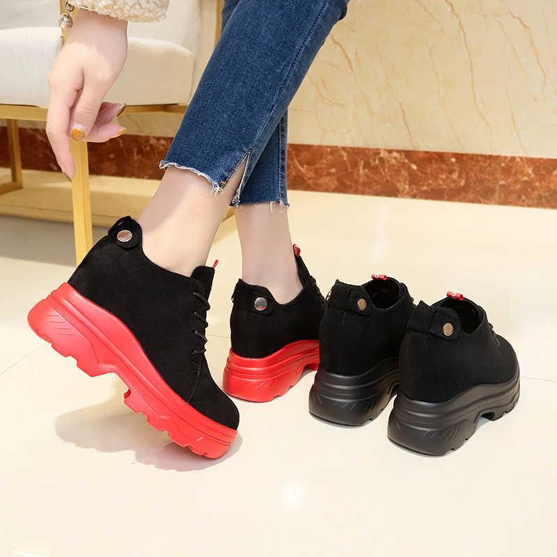 Moipheng חורף מגפי נשים 2019 סקסי אדום נעלי אישה הגדלת גובה צאן שרוכים קרסול מגפי נשים Botas mujer Invierno