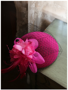 Image 5 - Fashion Women Wedding Hat Flower Black Bridal Party Gifts Veil Hair With Comb Pearl Beaded Bridal Hats and Fascinators