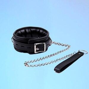 Collar de cuero PU de Metal negro de alta calidad, cadena de metal, ataduras de Bondage, juego para adultos, collares BDSM, Juguetes sexuales