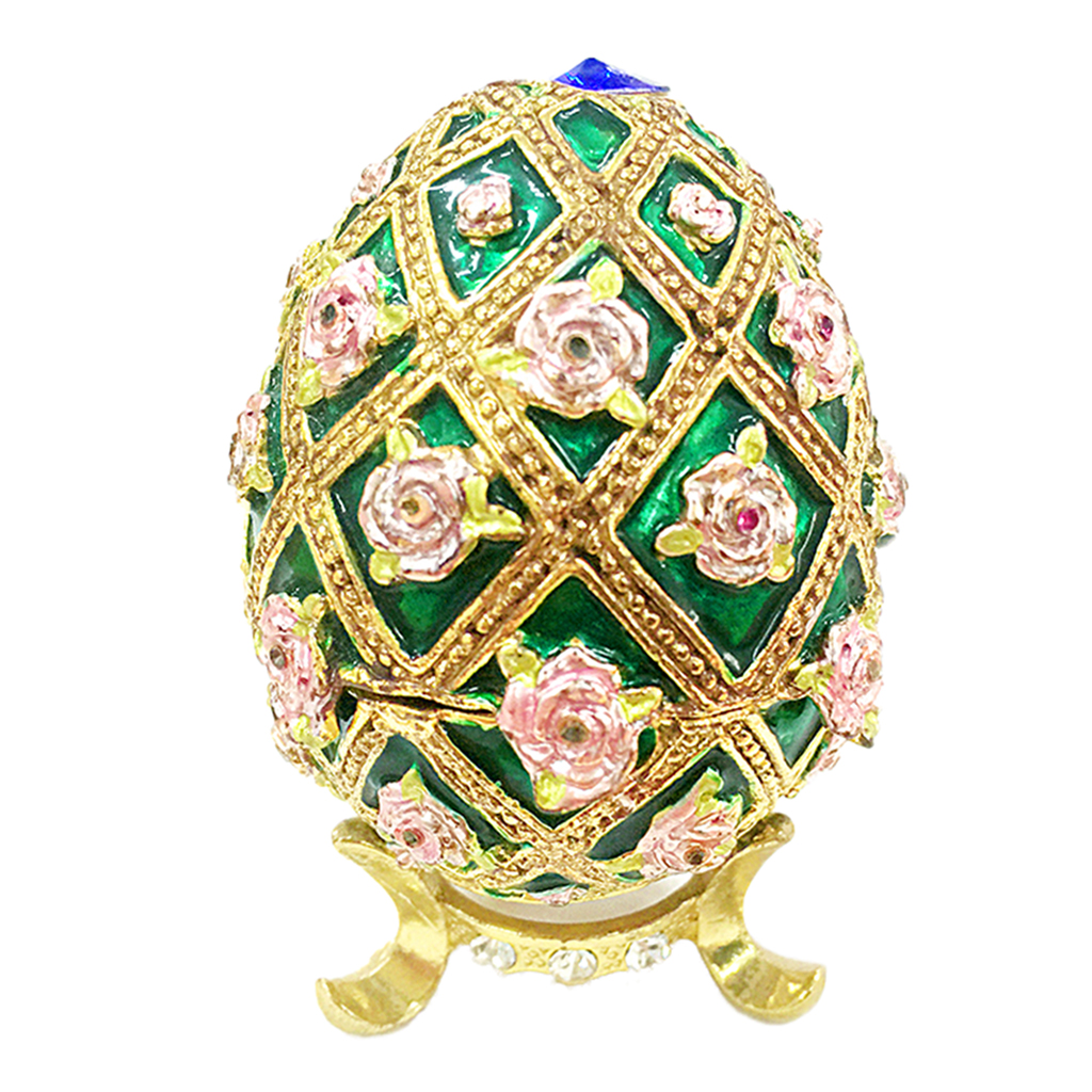 Decorative Colorful Crystal Enameled Flower Gold Green Egg Trinket Box Jewelry Box Easter Decor Home Collectibles