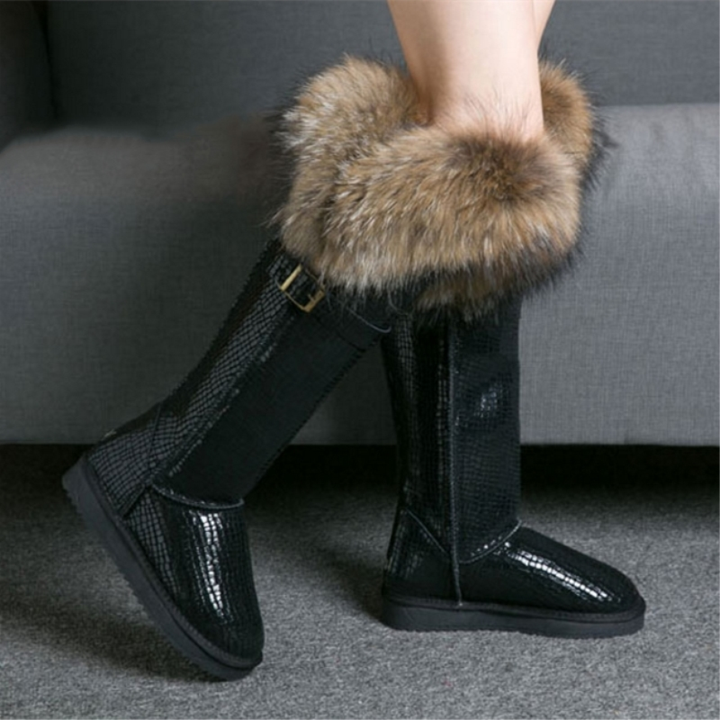 G&Zaco Luxury Genuine Leather Snow Boots  Winter Natural Fox Fur Knee- High Boots Waterproof Flat Long  Boots Raccoon Fur Boot
