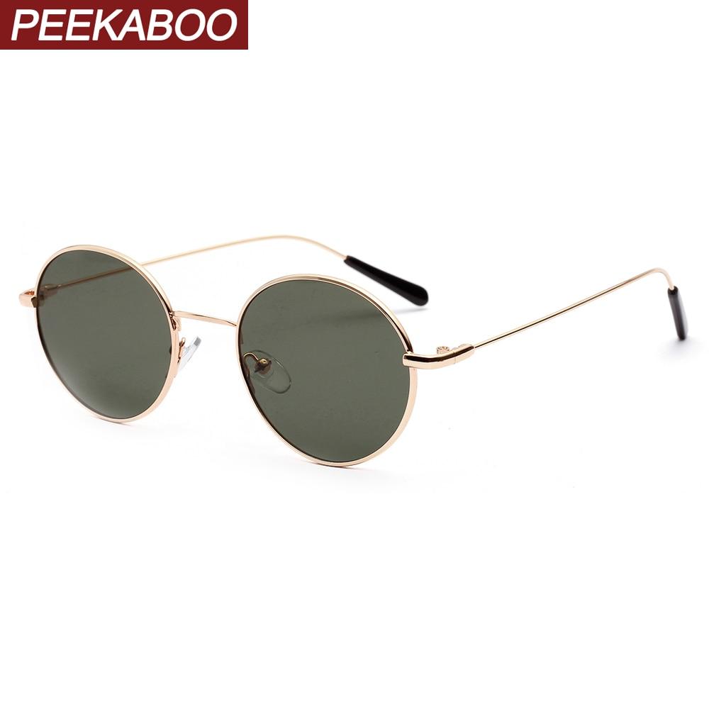 Peekaboo green black women retro sunglasses round male gift items vintage men sun glasses metal frame 2020 eyewear uv400