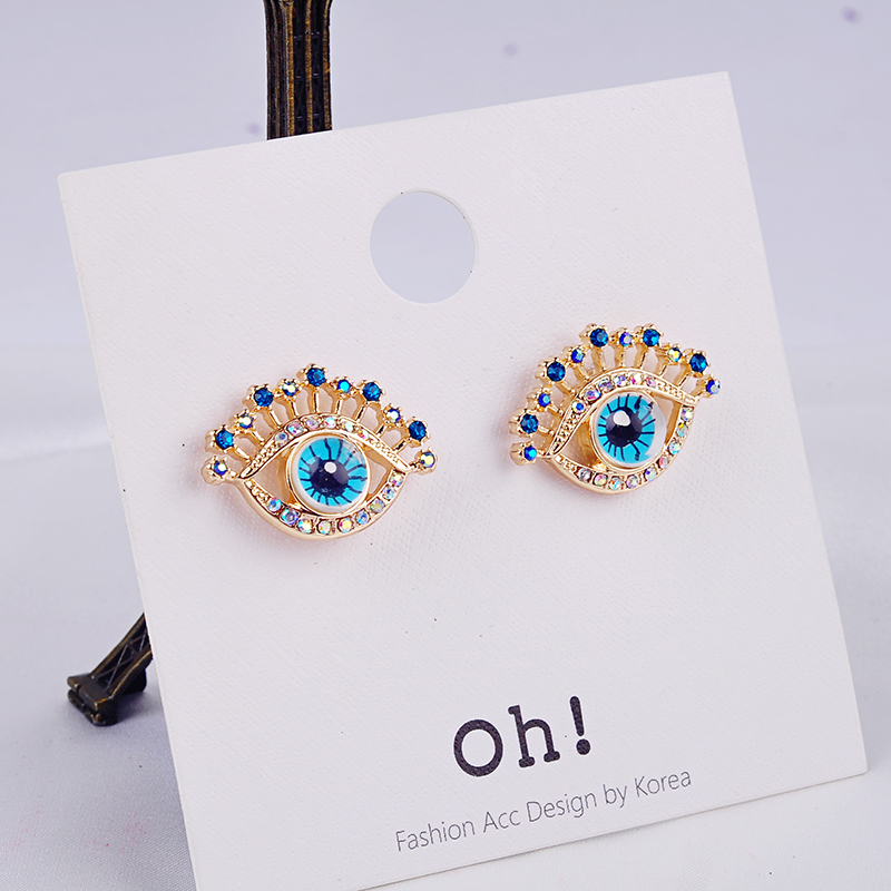 US $1.0 |Gold Color Evil Eyes Stud Earrings Crystal Indian Jewelry For Women Fashion Jewelry Wholesale Free Shipping-in Stud Earrings from Jewelry & Accessories on AliExpress