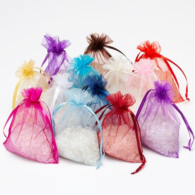 50 Stks/partij 7X9Cm Wit Sieraden Verpakking Drawable Organza Tassen Wedding Gift Bags Bruiloft Benodigdheden