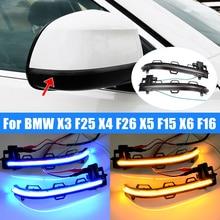 ضوء مؤشر المرآة الجانبية, 2 قطعة لسيارات BMW X3 F25 X4 F26 X5 F15 X6 F16 2014 2018 ، LED ديناميكي ، وميض ، مرآة جانبية متسلسلة