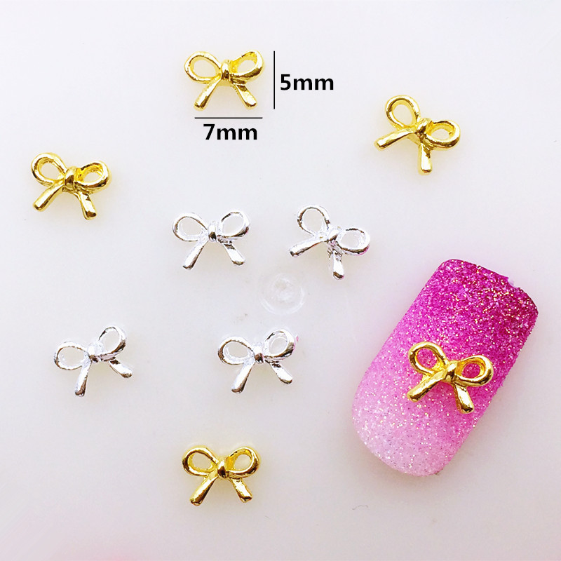 Nail Ornament Material Wholesale Japanese-style Popular DIY Hot Selling Metal Hollow Out Bowtie Alloy Bow Nail Sticker