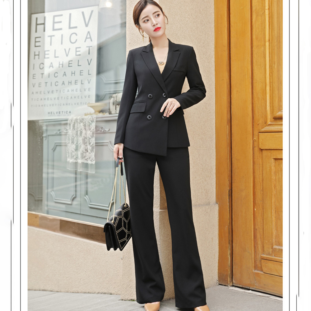 Fall Fashion Female White Business Suits Autumn Office Ladies Two Piece Sets Minimalist Solid Color Tailored Coats Pants Sets
