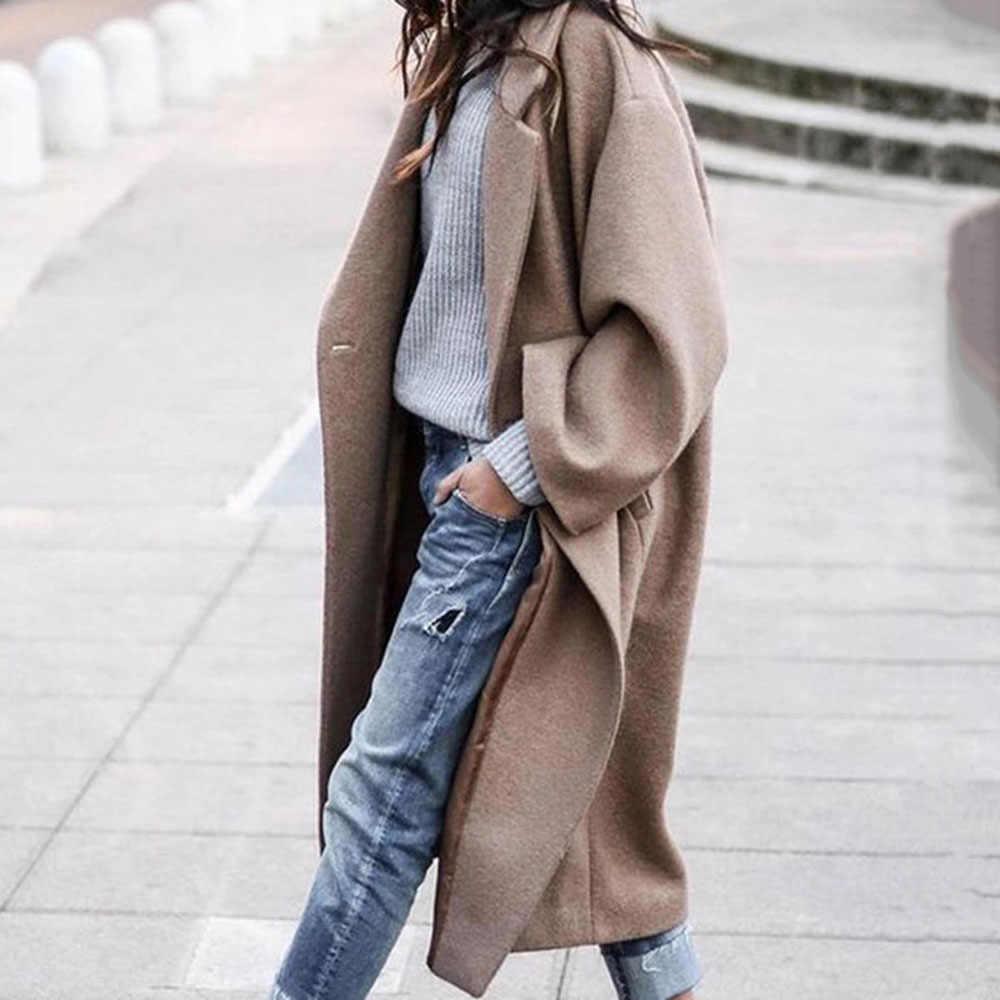 Простое Шерстяное женское элегантное офисное длинное пальто в Корейском стиле