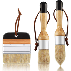 3 Pieces Chalk and Wax Paint Brushes Bristle Stencil Brushes for Wood Furniture Home Decor, Including Flat Pointed and Round Cha